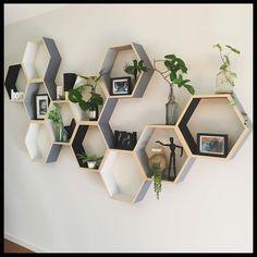ins new Boys and girls Room Wooden decorative hexagon house Shelf Retro Home Decor, Easy Home Decor, Boho Living Room, Living Room Decor, Hexagon House, House Shelves, Box Shelves, Shelf Units, House Wall