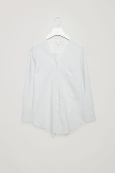 COS image 6 of Striped v-neck shirt in Powder Blue
