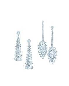 Tiffany Diamond Earrings Tiffany drop earrings with rose-cut diamonds in platinum. From left.