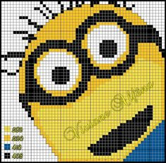 minion chart - usable for cross stich - for  knitting and crochet too (?) --- ENCANTOS EM PONTO CRUZ: Meu Malvado Favorito