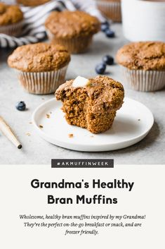 Wholesome, healthy bran muffins inspired by my Grandma! These muffins are made with whole grains, blackstrap molasses and applesauce; they're the perfect on-the-go breakfast or snack and are freezer friendly. Muffin Recipes, Baking Recipes, Breakfast Recipes, Snack Recipes, Snacks, Healthy Recipes, Healthy Breakfasts, Bread Recipes, Healthy Muffins