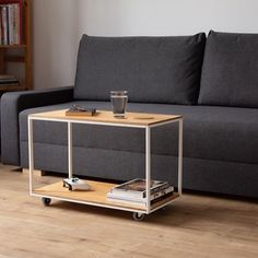 Old laundry hamper repurposed into a stylish floating coffee table. This is a movable, small coffee table ideal for a small apartment. Narrow Living Room, Living Room Seating, Cozy Living Rooms, Ikea Hacks, Ikea Loft, Side Table With Drawer, Double Bed Size, Murphy Bed Ikea, Small Coffee Table