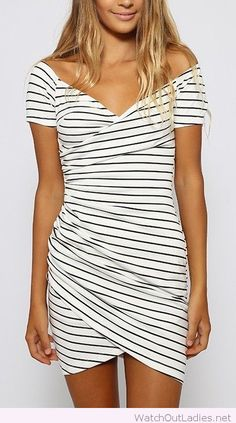Short sleeve striped dress, love the design