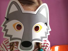 Wolf mask for children, PDF print it yourself. via Etsy. Big Bad Wolf, Wolf Maske, Wolf Craft, Cub Scouts Wolf, Wolf Kids, Enchanted Forest Theme, Social Media Art, Wolf Love, Animal Masks