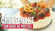 Cheesecake con base de pretzel Best Cheesecake, Relleno, Desserts, Food, Cold Desserts, Almonds, Berries, Tailgate Desserts, Essen