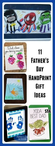 These are cute ways to give a meaningful gift to Dad for Father's Day this year! All of them are crafts that use kids handprints!!