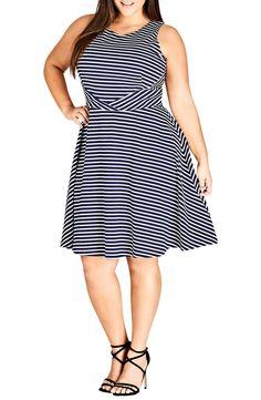 9600696ea3c City Chic Nautical Stripe A-Line Tie Dress (Plus Size)