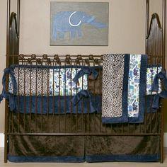 Modern Zoo Crib Bedding, Blue & Brown Crib Bedding, Cottage Dreams Bedding