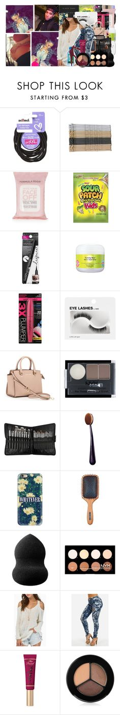 """""""I'm in my penthouse half naked, I cooked this meal for you naked, So where the hell you at? """" by calif0rnia-nx ❤ liked on Polyvore featuring scunci, Topshop, Maybelline, Isabella Oliver, Wet n Wild, H&M, MICHAEL Michael Kors, NYX, Sephora Collection and By Terry"""