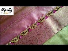 New Saree Kuchu Design Saree Tassels Designs, Saree Kuchu Designs, Silk Saree Blouse Designs, Saree Blouse Patterns, Blouse Neck Designs, Crochet Flower Tutorial, Flower Crochet, Knitted Flowers, Tatting Necklace
