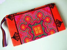 Handmade Crossstitch/Embroidered Bag Orange by dermusensohn2000, $17.99