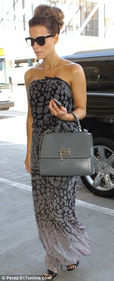 Kate Beckinsale in strapless ombré maxi dress grey tote