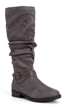 Soda Shoes Dale Tall Scrunch Boots in Charcoal DALE-S-CHAR