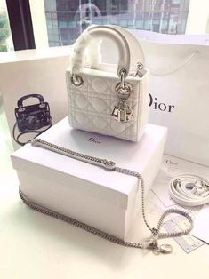 f6b9387d797e Dior White Lady Dior with Chain Mini Bag(Silver Hardware) Designer Bags