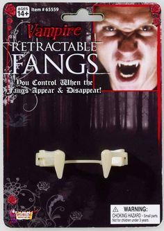 Retractable Vampire Fangs Adult Includes pair of retractable vampire fangs. Weight (lbs) 0.31 Length (inches) 6 Width (inches) 4.25 Height(inches) 1.5