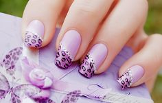 Purple Leopard Tips with Rhinestones Nails