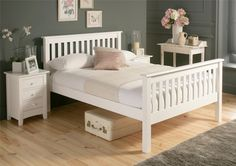 Shaker White Wooden Bed Frame HFE - Standard Wooden Beds - Bed Style
