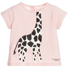 d6aceea2545 Baby girls powder pink short-sleeved Burberry t-shirt. Made in a soft