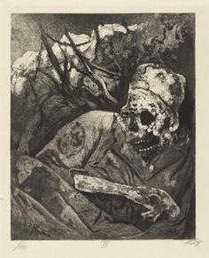 Leiche im Drahtverhau (Flandern) (cadavre dans les barbelés (Flandre)), 1924, eau-forte et aquatinte, 29,8 x 24,5 cm.