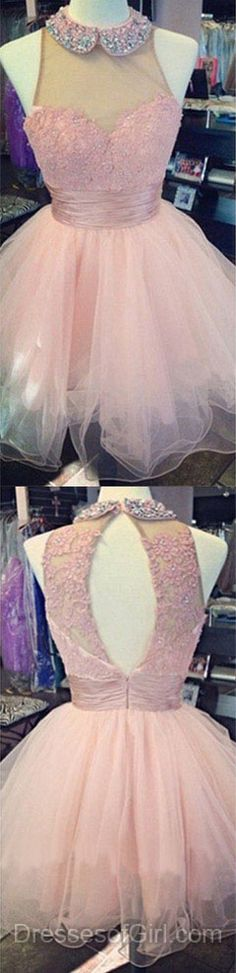 Pink Prom Dress, Short Prom Dresses, Tulle Homecoming Dress, Scoop Neck Homecoming Dresses, Open Back Cocktail Dresses