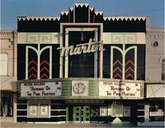 Facade of the Martin Theatre. Vintage Movie Theater, Vintage Movies, Puerto Princesa, Theater Architecture, Art Nouveau, Cinema Theatre, Broadway Theatre, Musical Theatre, Only In America