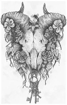 Macabre ram skull with keys and flowers