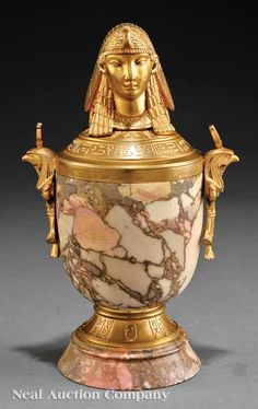 French Egyptian Revival Brêche d'Alep Marble and Ormolu Lidded Canopic Jar, early 20th c