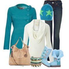 """Love this turquoise and ivory winter outfit.  """"Untitled #387"""" by allisonbf on Polyvore"""