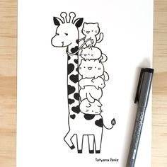 Cute and funny drawing of a cat pile riding a giraffe, illustrated by Tatyana Deniz #kawaii #giraffe #kawaiidrawings