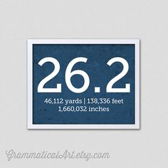 Running 26.2 Marathon Print with Yards Feet by GrammaticalArt, $18.00