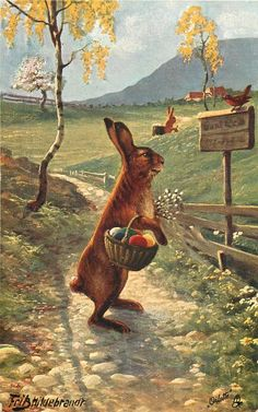 """""""Easter Rabbit Fantasies"""" (1909) by the very talented German artist, Mr. Fritz Hildebrandt with beautiful morning light.  Image courtesy of"""