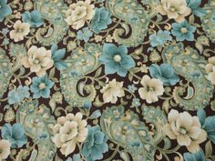Fabric - Green Blue and Brown Floral Paisley - Cotton on Etsy, $3.35