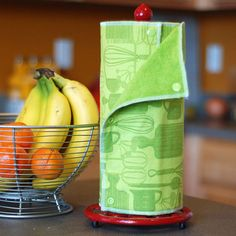 NEW - Reusable, Eco Friendly Snapping Paper Towel Set - Green Kitchen  - Cotton and Terry Cloth