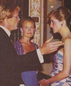 1989-07-06 Diana talks to Nick Nolte and his wife Becky at the Premiere of 'Farewell To The King' in aid of Elizabeth Fitzroy Homes, Cannon Cinema Haymarket