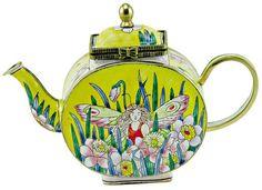 KELVIN CHEN Enamel Mini Teapot- Flower Fairy Garden