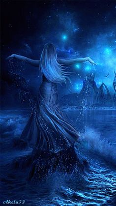 Woman rising from beautiful blue water. Prophetic art.
