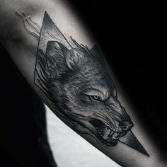 Wolf With Shape Mens Forearm Tattoos