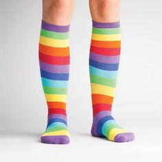 With greater stretch and stay-up power, this edition of our Super Juicy stripe socks are sure to be a hit. Smaller Calves, Big Calves, Calf Socks, Knee Socks, Striped Knee High Socks, Rainbow Socks, Bright Purple, Stretchy Material, Cool Designs