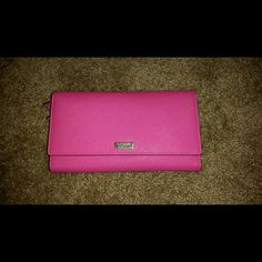 Hot pink Kate spade wallet Hot pick accordion style wallet with place for 6 cards, passport, two coin pouches and three compartments for money or receipts. kate spade Bags Wallets