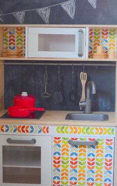 ikea duktig play kitchen on Tea is the Answer Best Play Kitchen, Play Kitchens, Mini Kitchen, Ikea Toy Kitchen, Wooden Play Kitchen, Kitchen Hacks, Ikea Duktig, Childrens Kitchens, Ikea Furniture Hacks