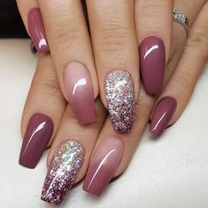 Nice Coffin Nail Designs that you want to try a - Nageldesign - Nail Art - Nagellack - Nail Polish - Nailart - Nails - Fall Nail Art Designs, Cute Nail Designs, Nail Art Ideas, Ombre Nail Designs, Acrylic Nail Designs Glitter, Nail Art For Fall, Nail Ideas For Fall, Fall Nail Art Autumn, Long Nails
