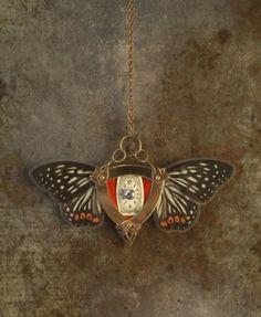moth steampunk watch necklace