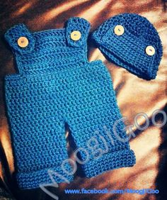 Newborn 'Denim' Crochet Overalls and Hat by Rainbow Roo Creations (formerly MoogjiGoo) www.facebook.com/RainbowRooCreations   Pattern coming soon. Please go to www.facebook.com/RainbowRooCreations and like the page to stay up to date.