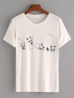 Camiseta ratones suelta -blanco