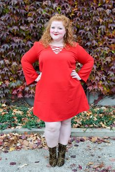 """For Part II of my holiday dress feature with Avenue, I'm spotlighting the feisty and fierce """"little red dress"""", or LRD. It's spicy, sassy, and sizzling hot! #avenue #aveplus #avenueplus #littlereddress #reddress #plussizefashion #plussizestyle #holidayoutfit #holidaystyle #ootd #psootd #outfit"""