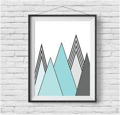 Mint Mountain Art, Mint Print, Turquoise Art, Scandinavian Print, Geometric Art, Mountain Art, Art Deco, Home Decor, Mint Digital Print
