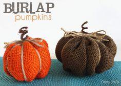 Burlap Pumpkins - Cutesy Crafts