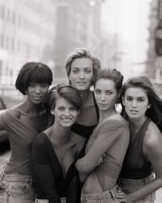 Naomi Campbell, Linda Evangelista, Tatjana Patitz, Christy Turlington, and Cindy Crawford British Vogue January 1990 by Peter Lindbergh