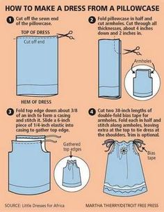 This picture shows how to make a simple and cute pillowcase dress. The article linked tells a story about a woman who collects dresses to send to girls in Africa. When I make my daughter a pillowcase dress, I will make another one or two to share. Sewing Hacks, Sewing Tutorials, Sewing Crafts, Sewing Projects, Sewing Patterns, Tutorial Sewing, Sewing Ideas, Skirt Patterns, Diy Crafts