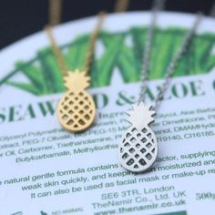 💟Small Gold Pineapple Necklace❤️ Adorable and simple pineapple necklace! The third photo is comparison to show the size. It's a very small and simple pendant. Jewelry Necklaces